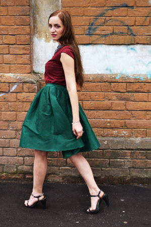 teal Sheinside skirt - magenta Atmosphere UK blouse