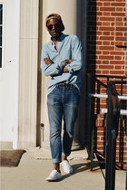 blue JCrew jeans - corduroy Finn Apparel hat - JCrew shirt