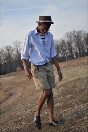 stripe shirt H&M t-shirt - JCrew shirt - American Eagle shorts