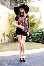 black floppy hat - brown leopard print blazer - black shirt - black shorts