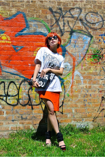 White Closet skirt - asos bag - antoniored wedges - apex glasses