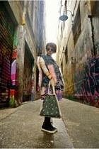 romwe vest - cotton on dress - tory burch cardigan