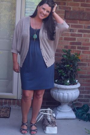 Ann Taylor Loft dress - coach bag - gifted necklace - Ann Taylor Loft cardigan -