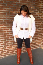 Victorias Secret boots - Cabi leggings - I heart ronson belt - Express sweater -