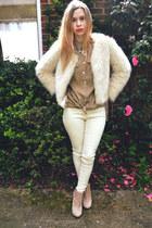 Seashells vintage coat - asos boots - Topshop shirt - Stylenanda pants
