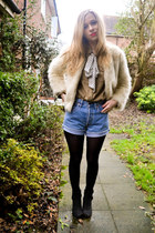 Seashells vintage jacket - next boots - Topshop shirt - Levis shorts