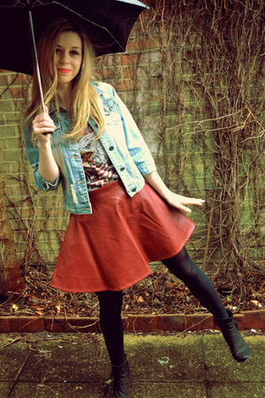 Ebay skirt - next boots - random from Hong Kong jacket - Topshop t-shirt