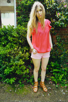 River Island blouse - Topshop shorts - H&M wedges