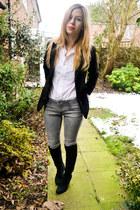 next boots - Topshop jeans - random brand blazer - random shirt