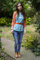River Island jeans - thrifted vintage blouse - thrifted vintage cardigan - H&M w