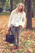 River Island boots - Seashells vintage coat - Topshop jeans - Marc B bag