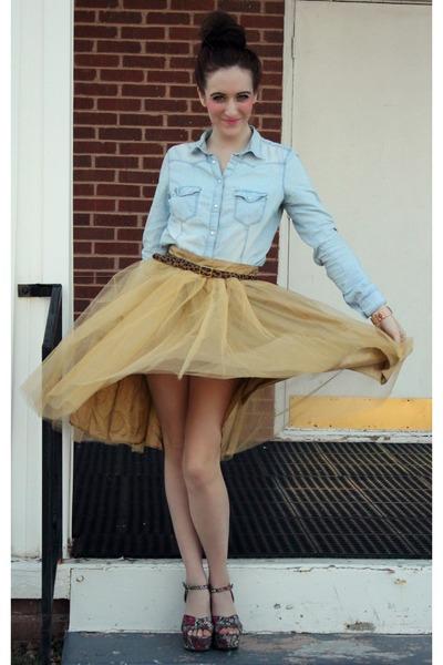 Primark shirt - eShakti skirt - Target wedges