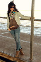 ikat Target scarf - boyfriend Gap jeans - leather Rotten Tomatoes jacket