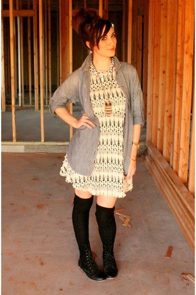Forever21 boots - asos dress - chambray Gap shirt