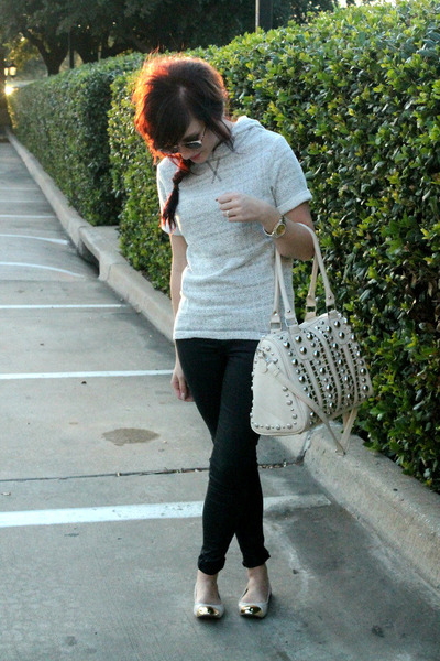 studded unknown bag - hooded H&M sweater - metallic Target sunglasses