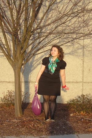 black dress - green Ed Hardy scarf - black tights - purple purse - gold shoes