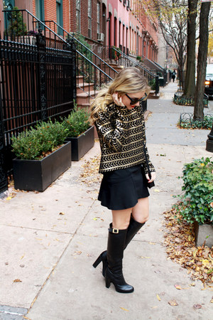 black knee-high boots Rachel Zoe boots - black cross body Ralph Lauren bag