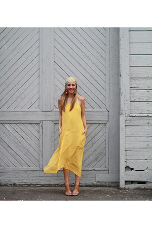 yellow silk maxi Liberty Sage dress - blue stacked Shoedazzle heels
