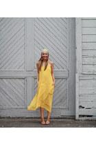 yellow silk maxi Liberty Sage dress - blue stacked Shoedazzle heels