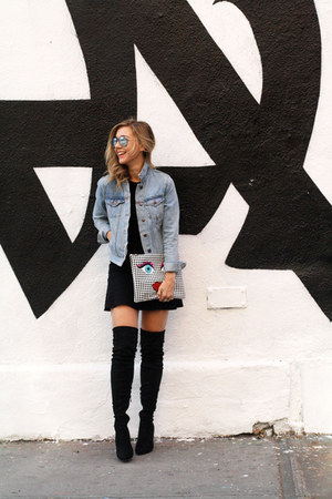 light blue denim jacket Forever 21 jacket - black asos boots