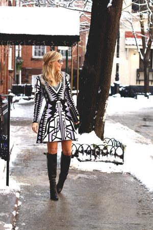 black knee-high boots Rachel Zoe boots - violet mini dress Parker New York dress