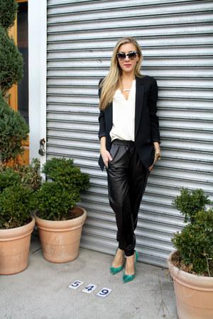 black Zara blazer - white blouse silk Julie Brown shirt