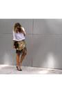 White-button-up-anthropologie-shirt-gold-fringe-tamara-mellon-skirt