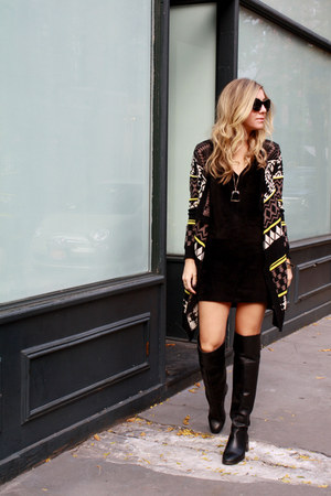 black Zara boots - black mini single dress - black vintage sweater