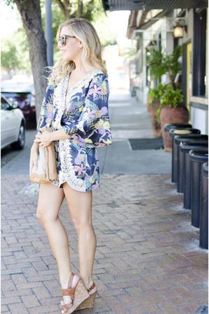 navy floral luluscom romper - tan Jessica Simpson wedges