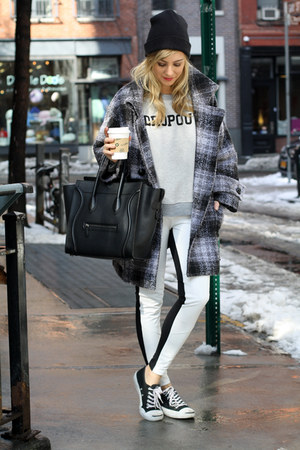 heather gray sweatshirt mother sweatshirt - black Celine bag