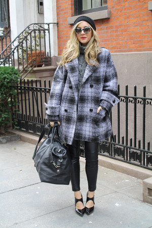 heather gray oversized plaid coat - black stacked heel 31 Phillip Lim shoes