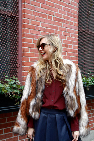 tan RoseGold boots - nude cropped fur twelfth street by cynthia vincent coat