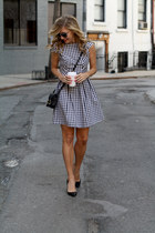 black gingham glam dress - black cross-body Ralph Lauren bag