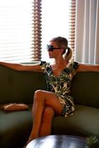 teal cutout For Love & Lemons dress - brown oversized Karen Walker sunglasses