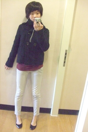 Gap jacket - no brand shirt - Armani Exchange jeans - no brand scarf - no brand