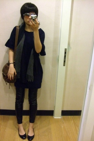no brand dress - Muji scarf - Muji scarf - no brand leggings - no brand shoes -