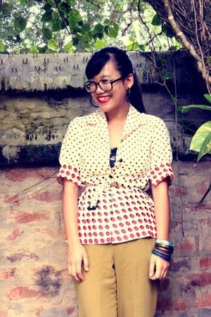 polka dot vintage blazer - Mango pants