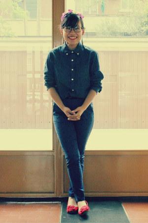 denim thrift shirt - heart print H&M pants