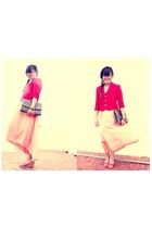 red hanselandgretel blazer - vintage dress - red wedge vintage wedges