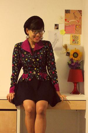 black H&M dress - polka dotted thrift coat
