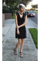 black H&M dress - navy Zara heels - silver collar 33 Rooms necklace