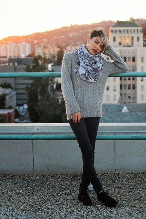 crimson lace up boots - silver wool cable knit sweater - silver skull H&M scarf
