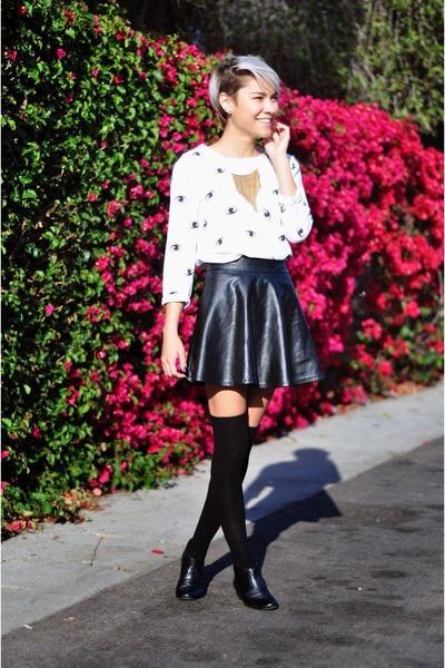 black leather Nine West boots - white eyeball OASAP dress