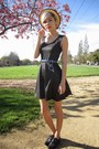 Black-asos-dress-gold-woven-urban-outfitters-hat-silver-caged-sunglasses