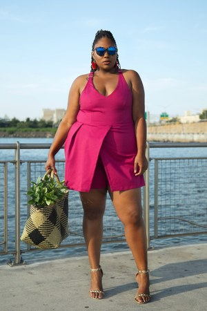beige basket weave IKEA bag - hot pink plus size Astra Signature romper