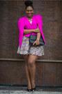 Hot-pink-boohoo-blazer-camel-fashion-to-figure-skirt-black-shoedazzle-pumps