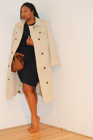 beige trench coat Long Tall Sally coat - navy wrap dress Michael Kors dress