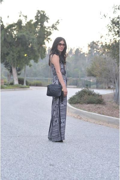 black Lush jumper - black vintage Chanel bag - black JustFab heels
