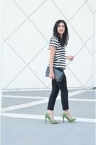 chartreuse Shoedazzle heels - charcoal gray Clare Vivier bag - black Gap pants