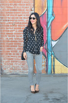 black madewell blouse - heather gray goldsign jeans - black Chanel bag